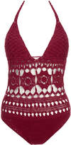Lisa Maree 'A Round Trip' Wine Crochet One Piece