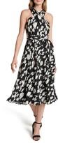 Tahari Cross Chiffon Burnout A-Line Dress