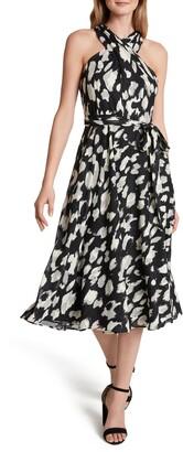 Tahari Sleeveless Cross Chiffon Burnout A-Line Dress