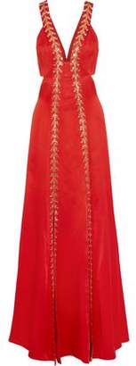 Temperley London Nile Cutout Embellished Satin-crepe Gown