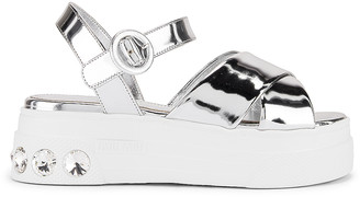 Miu Miu Jewel Platform Sandals in Silver | FWRD