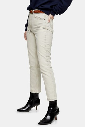Topshop Womens Putty Editor Straight Jeans - Putty