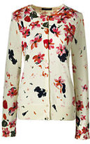 Classic Women's Petite Supima Print Cardigan Sweater-Bright Burgundy Dots