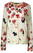 Classic Women's Tall Supima Print Cardigan Sweater-Bright Burgundy Dots