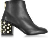 Stuart Weitzman Pearlbacari Black Nappa Leather Heel Ankle Boots w/Pearls