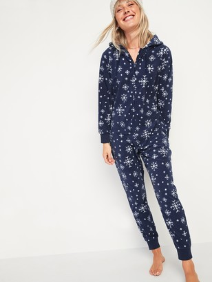 Old Navy Patterned Micro Performance Fleece Hooded One-Piece Pajamas for Women