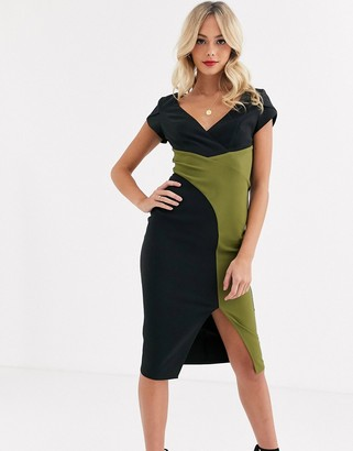 Paper Dolls wrap midi dress with split in black and olive