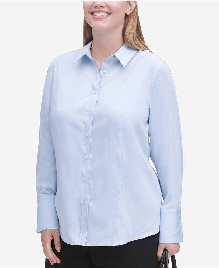 Calvin Klein Plus Size Cotton Collared Shirt