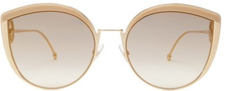 Fendi F Is Oversized Cat-eye Metal Sunglasses - Gold