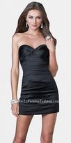 La Femme Size 2 Classic Black Strapless Short Prom Dresses
