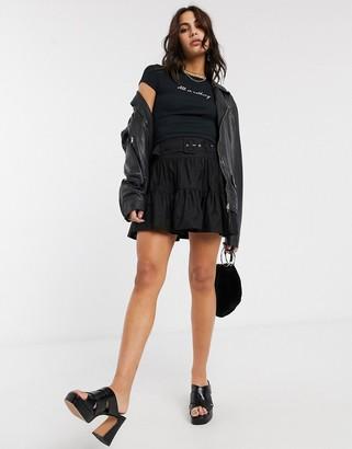 Bershka belted poplin skirt in black