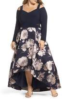 Xscape Evenings Cold Shoulder Brocade High/Low Dress