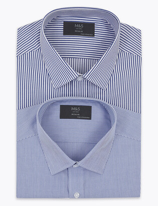 Marks and Spencer 2 Pack Regular Fit Cotton Striped Long Sleeve Shirts