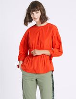 Marks and Spencer Tie Sleeve Round Neck Blouse