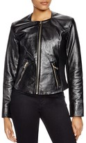Via Spiga Leather Ribbed-Detail Jacket