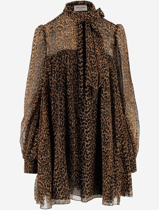 Saint Laurent Animal Printed Fine Wool Women's Dress