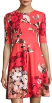 Taylor Floral-Print Scuba Fit & Flare Dress, Red Pattern