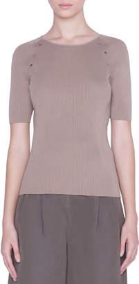 Akris Punto 1/2-Sleeve Eyelet-Trim Sweater