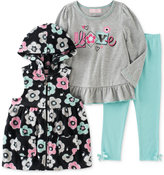 Kids Headquarters 3-Pc. Hooded Vest, Top & Leggings Set, Baby Girls (0-24 months)