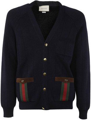 Gucci Side Buttoned Pocket V-neck Cardigan