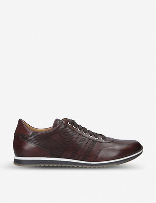 Magnanni Perforated striped leather trainers