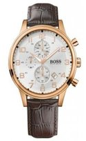 HUGO BOSS 1512519 White Dial Chronograph Date Leather Strap Men's Watch