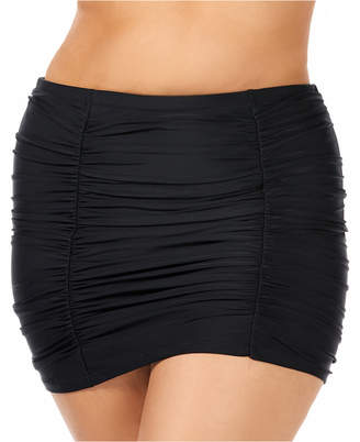 Raisins Curve Trendy Plus Size Juniors' Ruched Costa High-Waist Swim Skirt Women Swimsuit