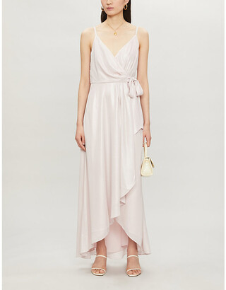 Ted Baker Waterfall metallic wrap satin midi dress