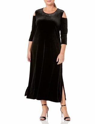Joan Vass Women's Plus Size Maxi Velvet Dress