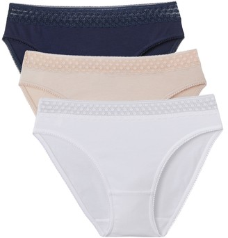 La Redoute Collections Pack of 3 Cotton Knickers with Dainty Lace Band