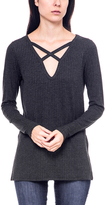 Bellino Charcoal Crisscross V-Neck Top