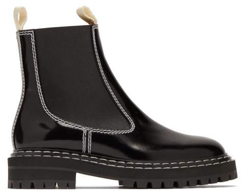 74670b8ca7a Topstitched Patent Leather Chelsea Boots - Womens - Black