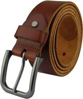 Heepliday Men's Soft Leather HJHX-021 Belt Medium 32-34 Black Buckle Red-Brown Leather