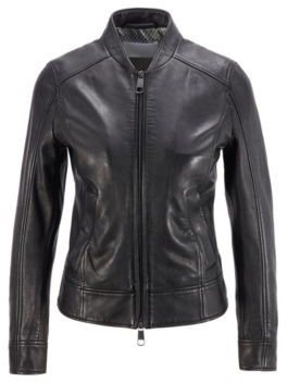 HUGO BOSS Regular-fit leather jacket with monogram-print lining