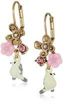 Betsey Johnson Marie Antoinette Bird & Flower Cluster Drop Earrings