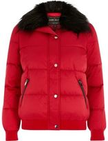 River Island Womens Red faux fur trim puffer jacket