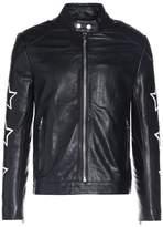 Won Hundred Mark Patch Leather Jacket Black