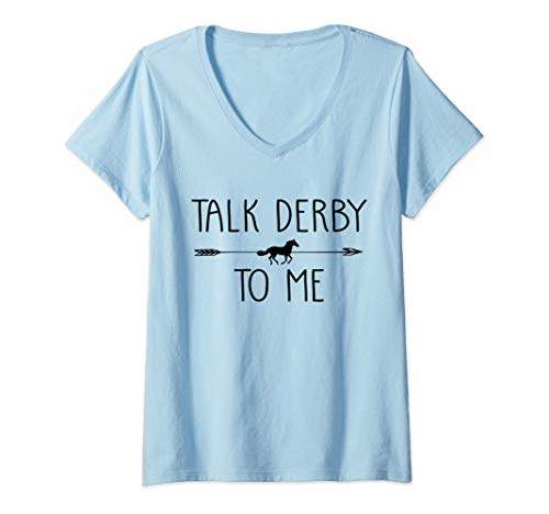 Jockey Womens Talk Derby To Me Funny Horse Owner Lover Gift V-Neck T-Shirt