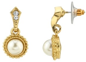 Downton Abbey Simulated Imitation Pearl Crystal Drop Earrings