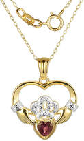 JCPenney FINE JEWELRY Heart-Shaped Genuine Garnet and Diamond-Accent Claddagh Pendant Necklace