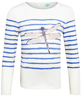 John Lewis Girls' Sparkly Dragonfly T-Shirt, Off White/Blue