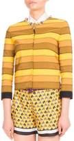 Mary Katrantzou Kryla Ribbon-Stripe Jeweled Jacket, Mustard