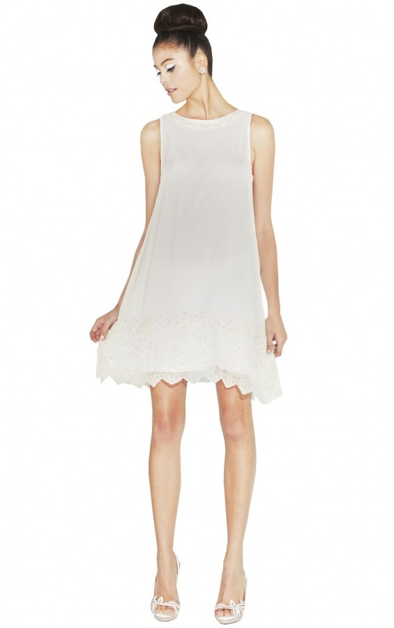 Alice + Olivia Rudie Beaded Trapeze Scallop Hem Dress