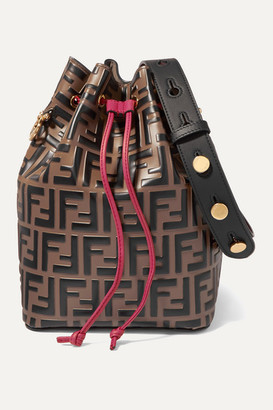 Fendi Mon Tresor Embossed Leather Bucket Bag - Brown