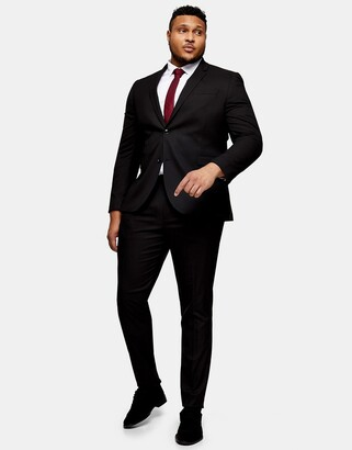 Topman Big & Tall skinny single breasted suit jacket in black