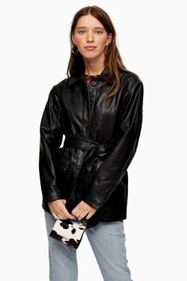 Topshop PETITE Black Faux Leather Tie Shacket