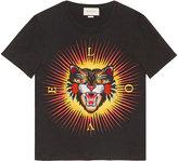 Gucci Cotton t-shirt with angry cat appliqué - men - Cotton - S