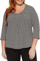 Liz Claiborne 3/4 Sleeve Scoop Knot Tee Neck T-Shirt-Plus