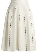 Bottega Veneta A-line linen-blend skirt