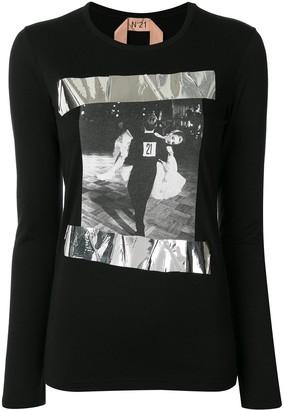 No.21 ballroom-print long-sleeve T-shirt